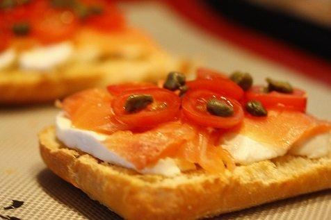Ciabatta toast met zalm voor de oven
