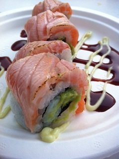 Salmon sushi Harbour Club Amsterdam