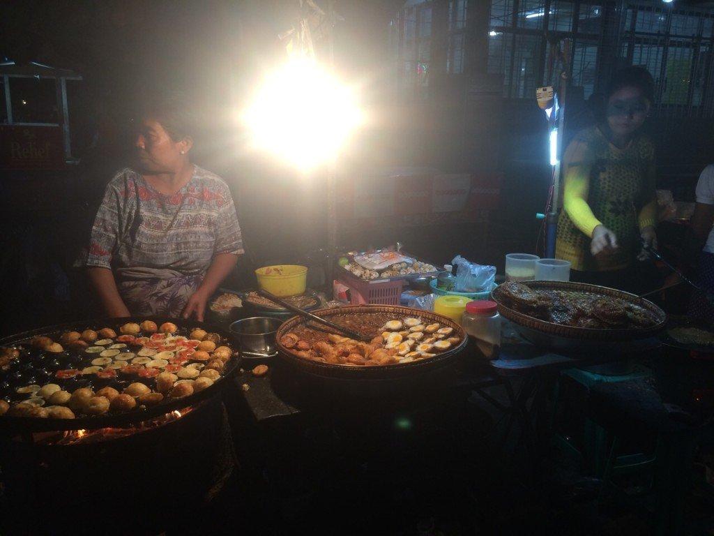 Nightmarket in Mandalay in Myanmar