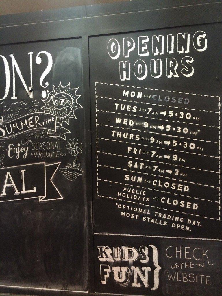 Openingstijden Markthal in Adelaide