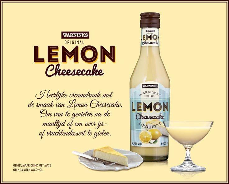 Warninks Lemon cheesecake Creme likeur foodnieuws frisse wijn, lemon cheesecake creme