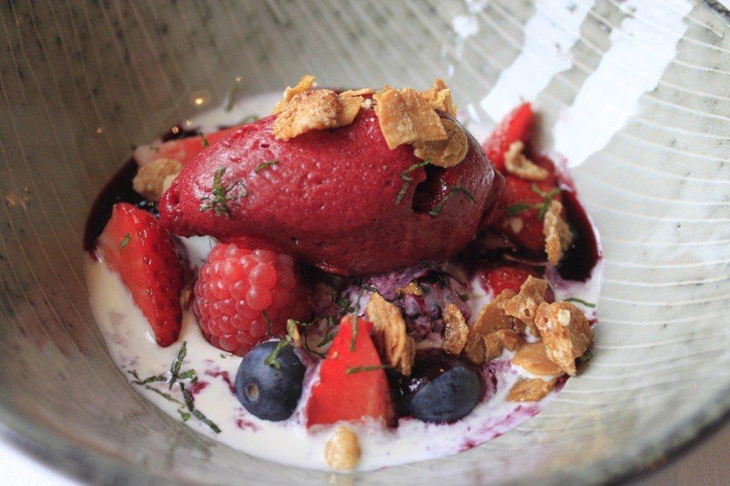 Rood zomerfruit dessert met room