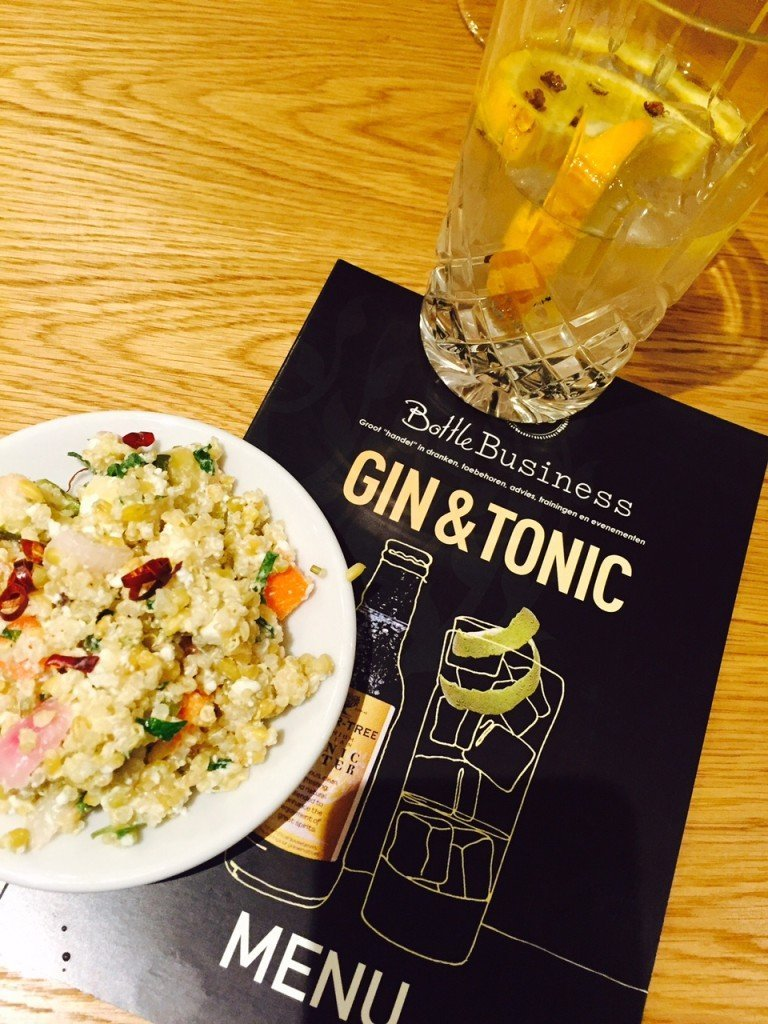 Gin Tonic en quinoa salade proeverij van Bottle Business Horecava 2016 Kick-off