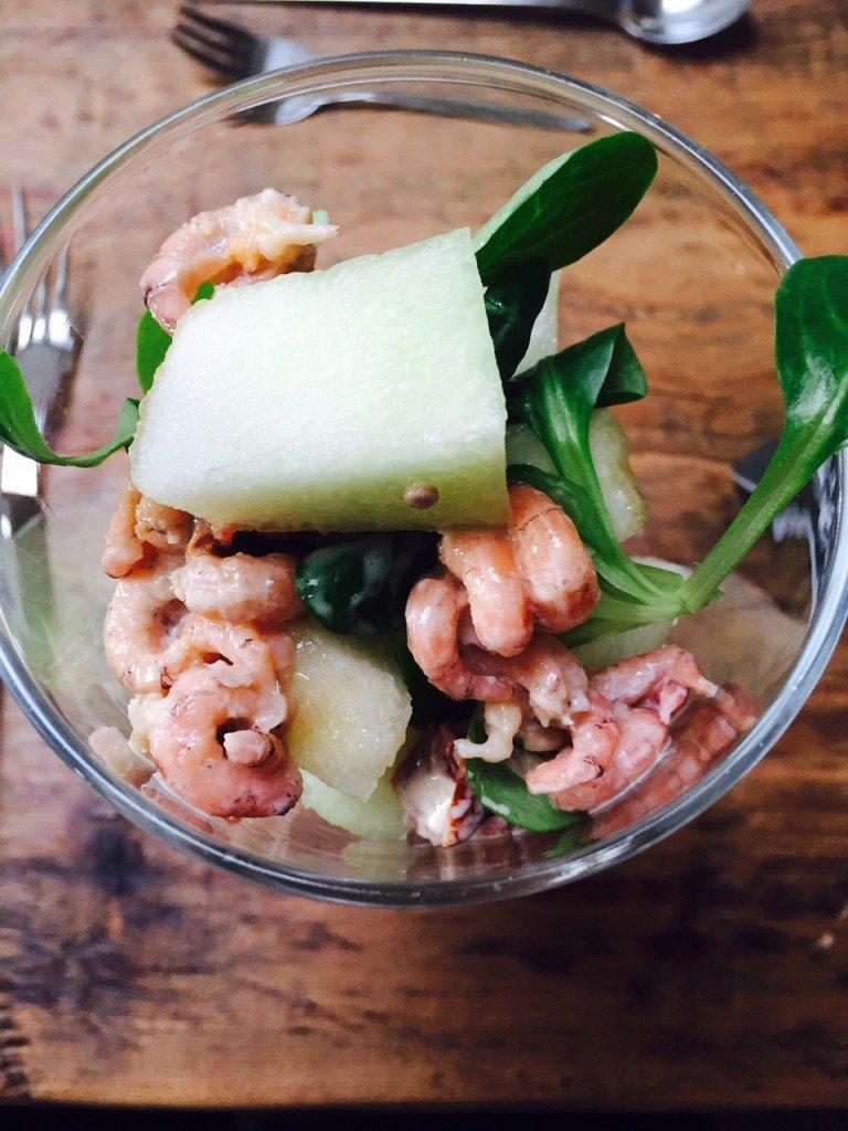 Garnalen meloen cocktail in limoncello kerstmenu Foodblogger Foodinista