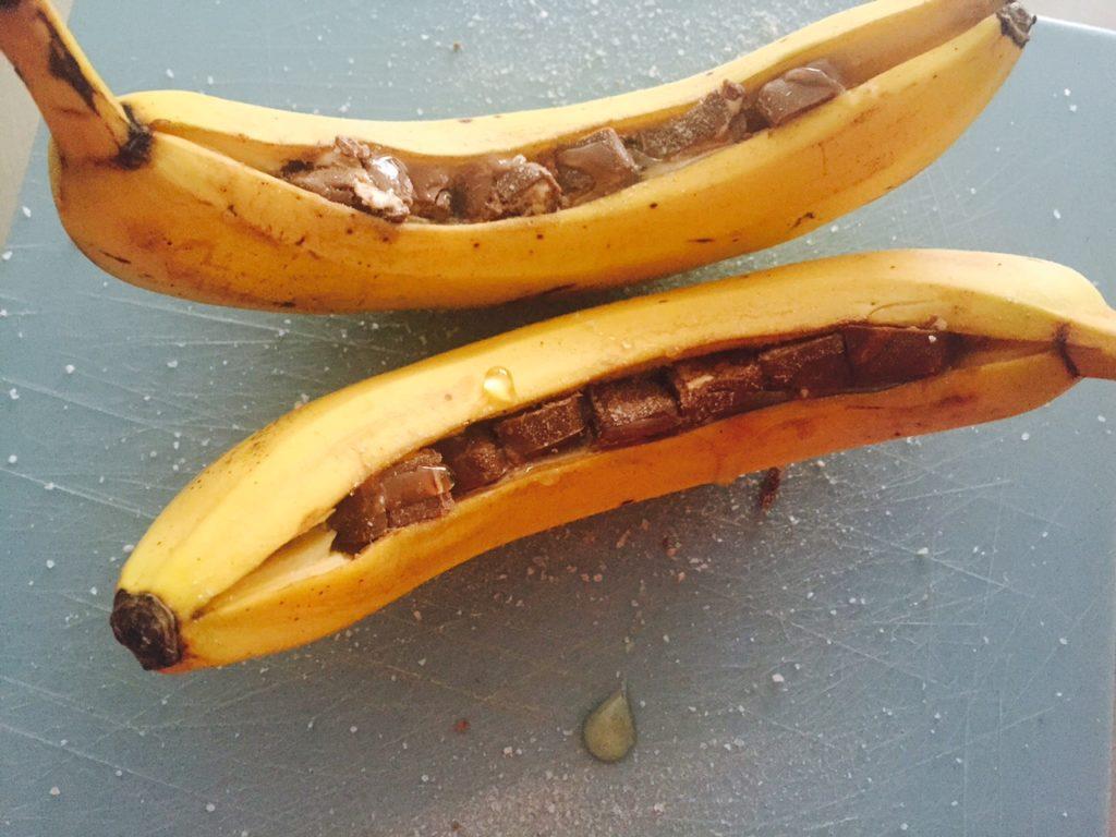 Recept voor bananasplit van de barbecue voor de bereiding Foodblog Foodinista