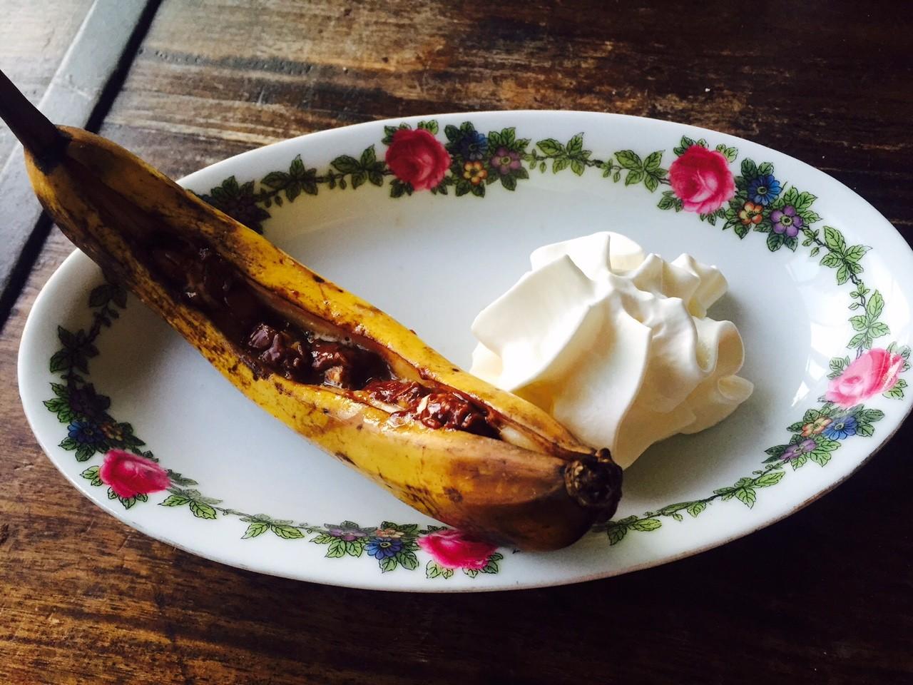 Recept voor bananasplit van de barbecue receptblog Foodinista