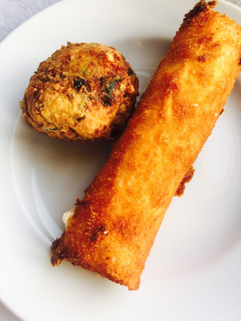 Spinazie balletjes en naxos kaaskroket foodie in Naxos foodblog Foodinista