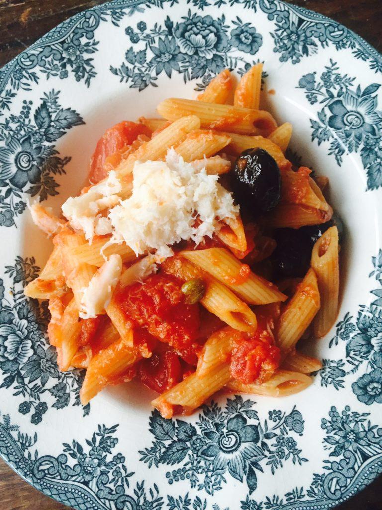 Snelle pasta met krab recept van receptblog Foodinista