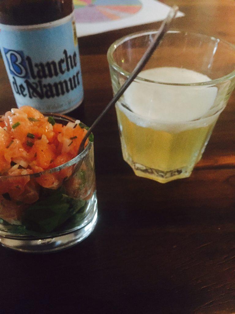 Zalmtartaar salade met Blanch de Namur foodpairing bier workshop Leuven foodblog Foodinista