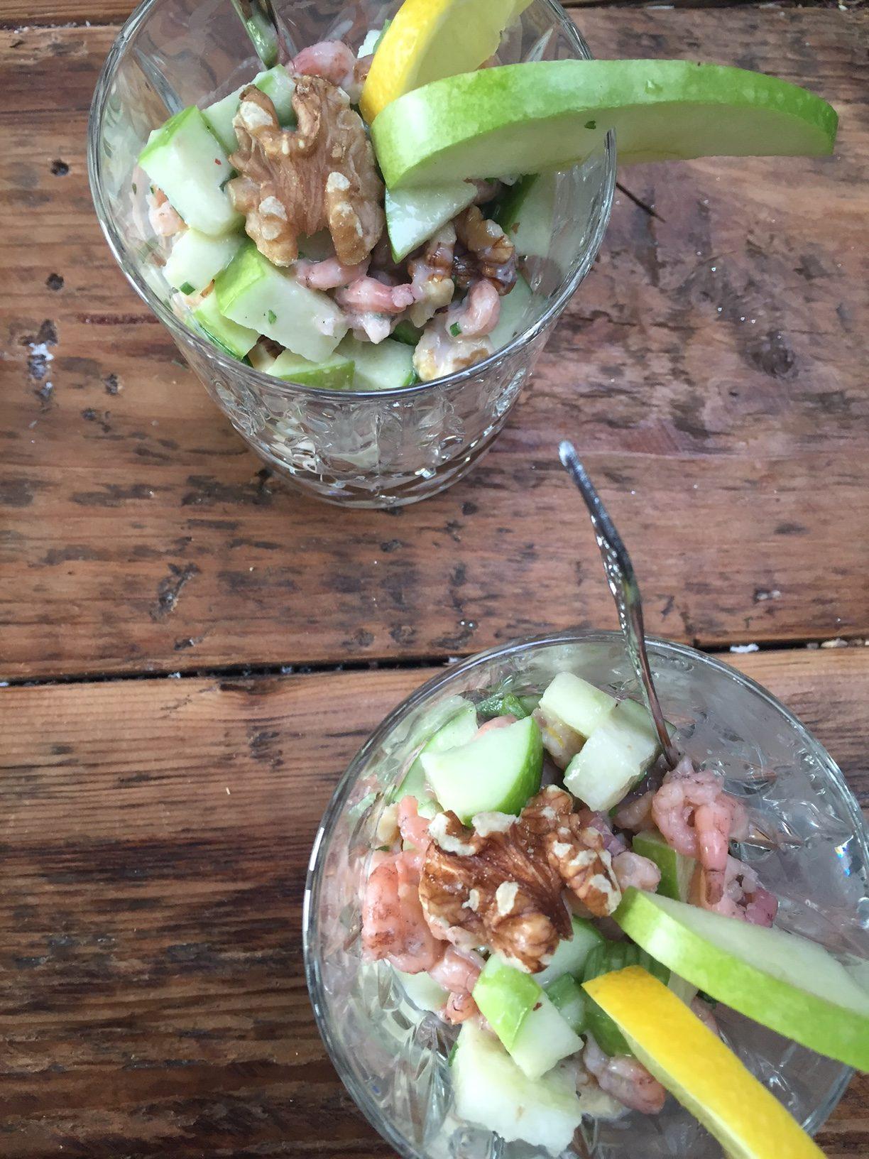 Frisse garnalencocktail met appel en walnoten gezonde kerstrecepten van Foodblog Foodinista