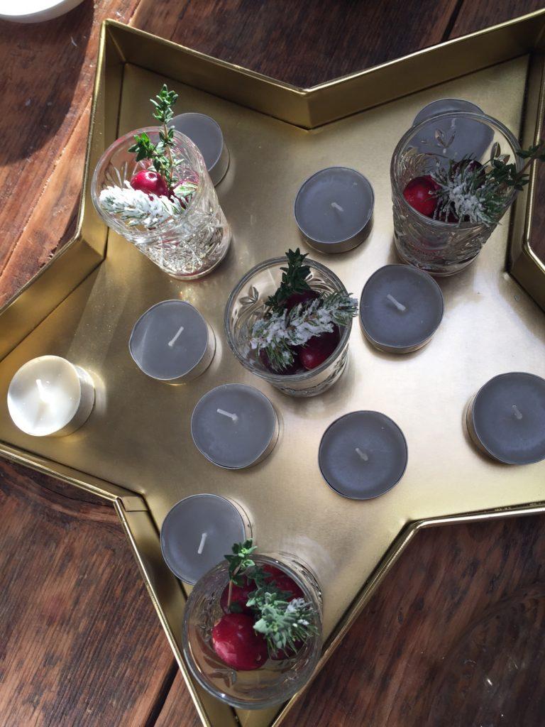 Gouden kaarsenplateau stervorm kersttafel indekken foodblog Foodinista