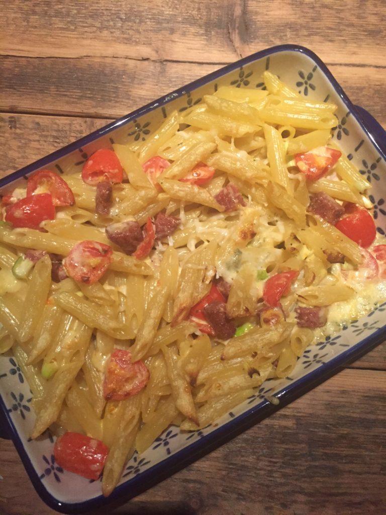 Ovenpasta met salami en gorgonzola recept van foodblog Foodinista