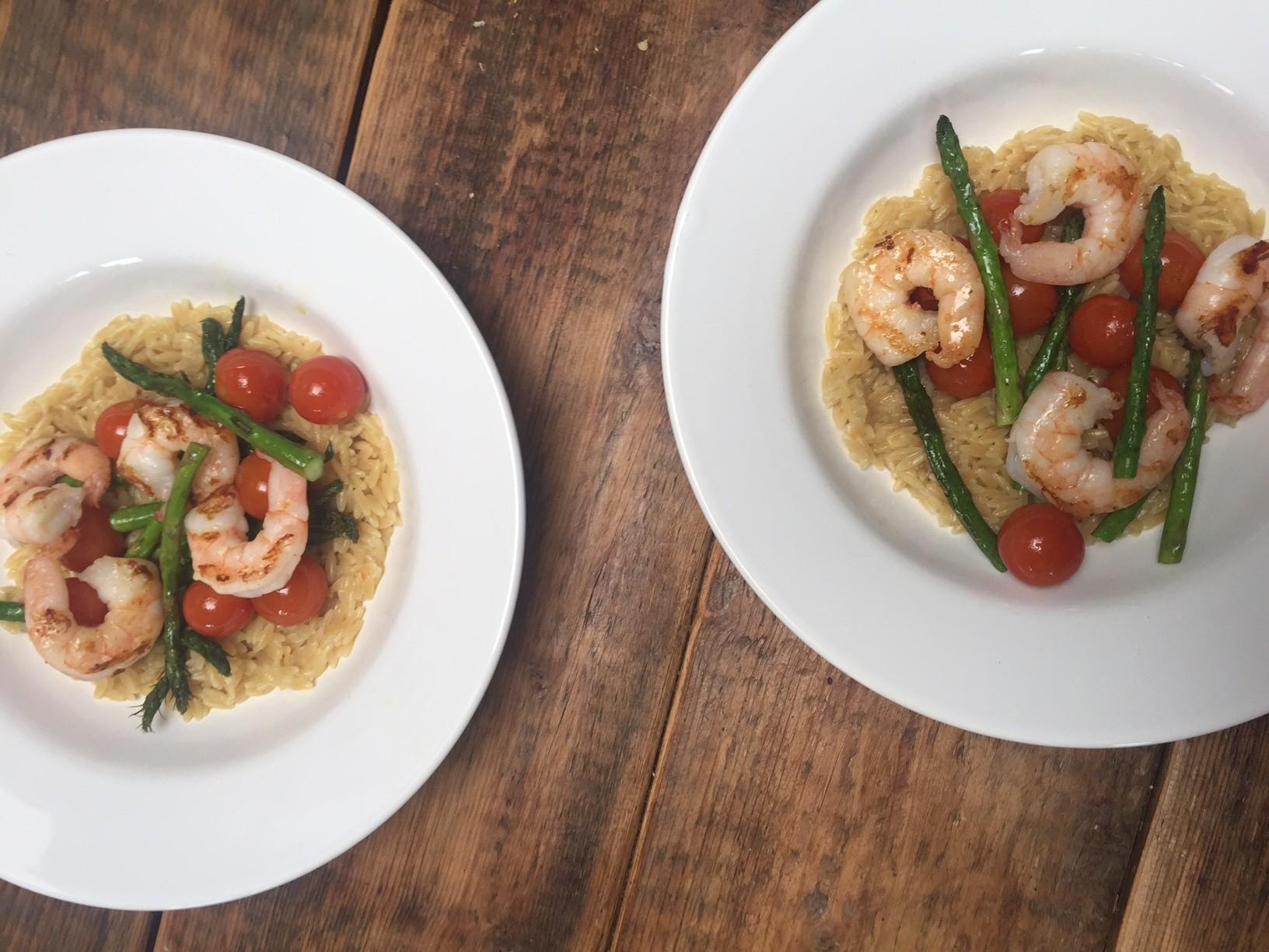 Orzotto met groene asperges en scampi recept van foodblog Foodinista