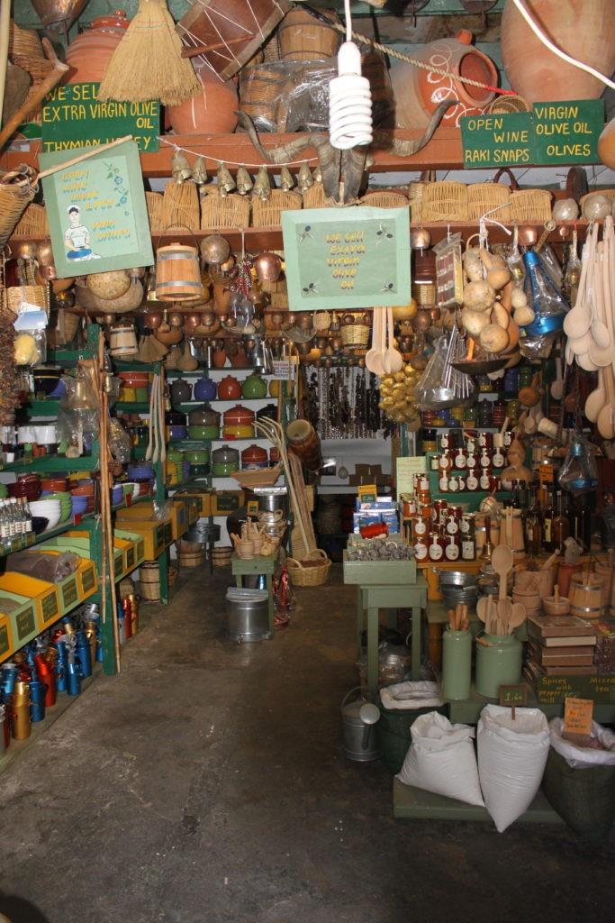 Delicatessen en souvenirwinkels op Naxos Griekenland