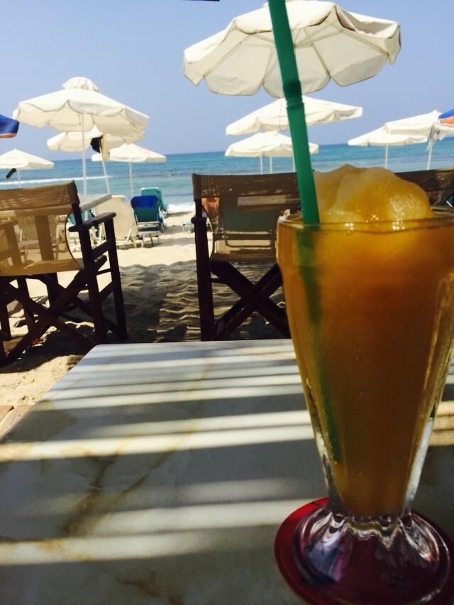 Frozen Perzikdrankje Strand Naxos Cycladen Griekenland