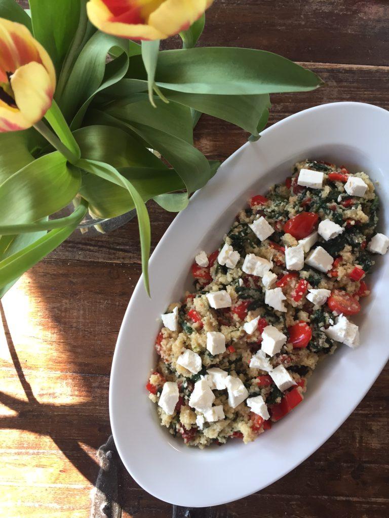 Couscous recept met feta en spinazie receptblog Foodinista