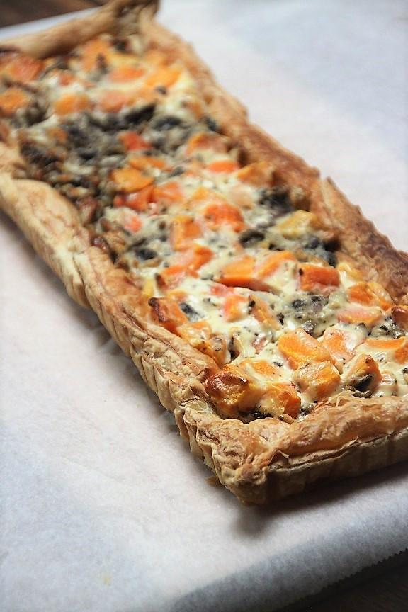 Pompoentaart met geitenkaas en champignons recept van foodblog Foodinista