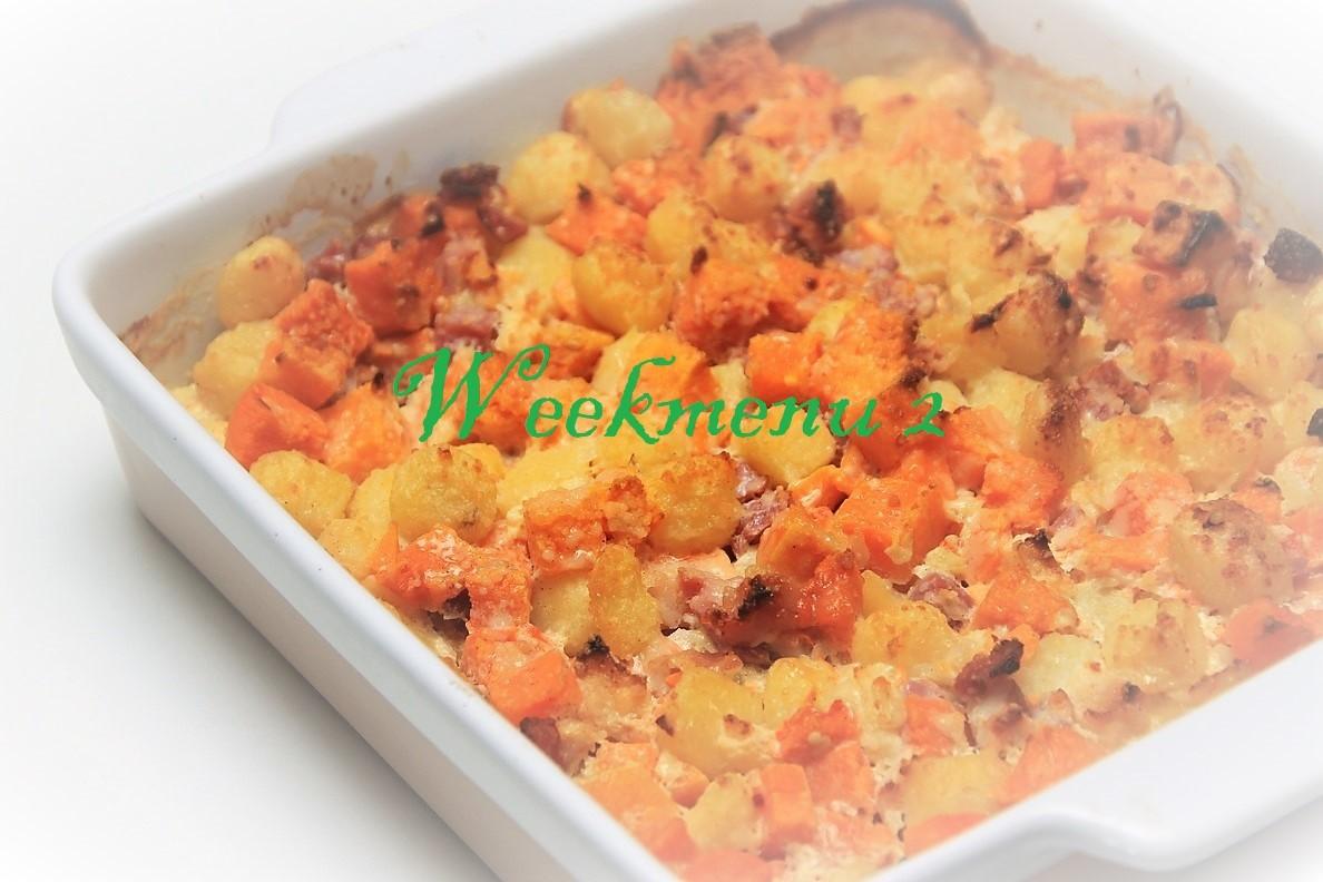 Gevarieerd en makkelijk weekmenu 2 met pompoen ovenschotel recept