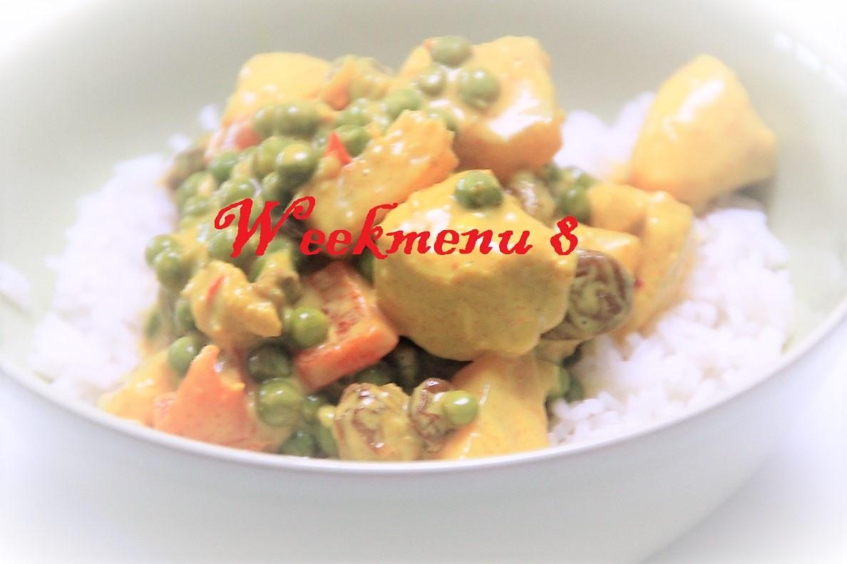 Gevarieerd en makkelijk weekmenu 8 rijst met kip kerrie recept