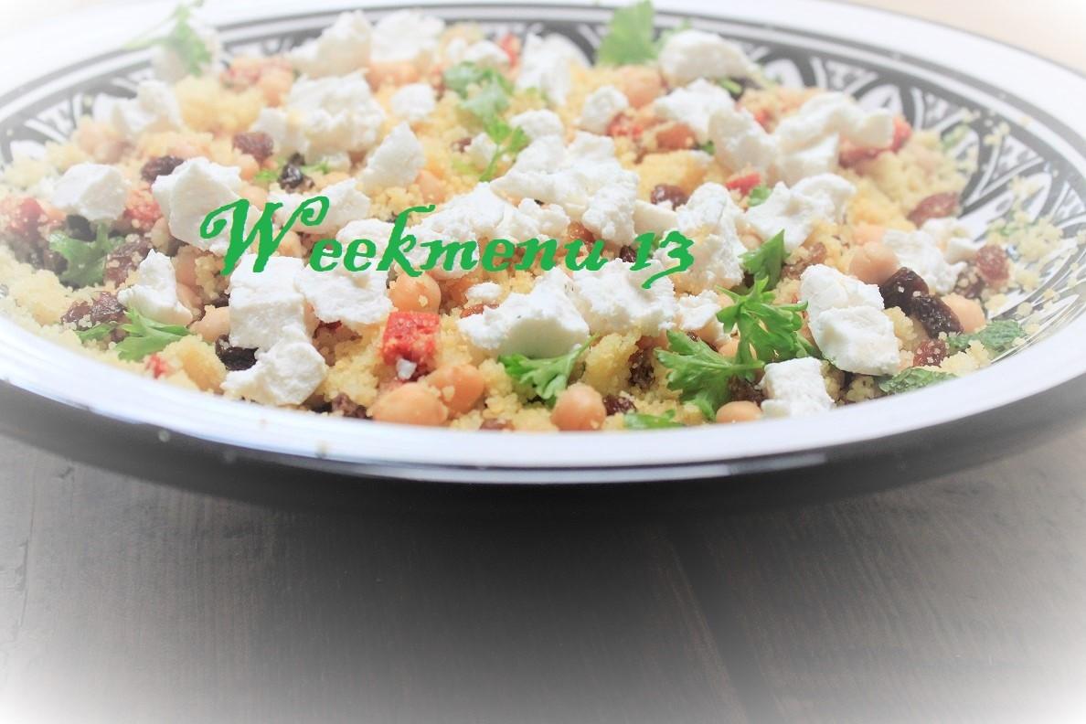 Gevarieerd en makkelijk Weekmenu week 13 met couscous met chorizo en geitenkaas