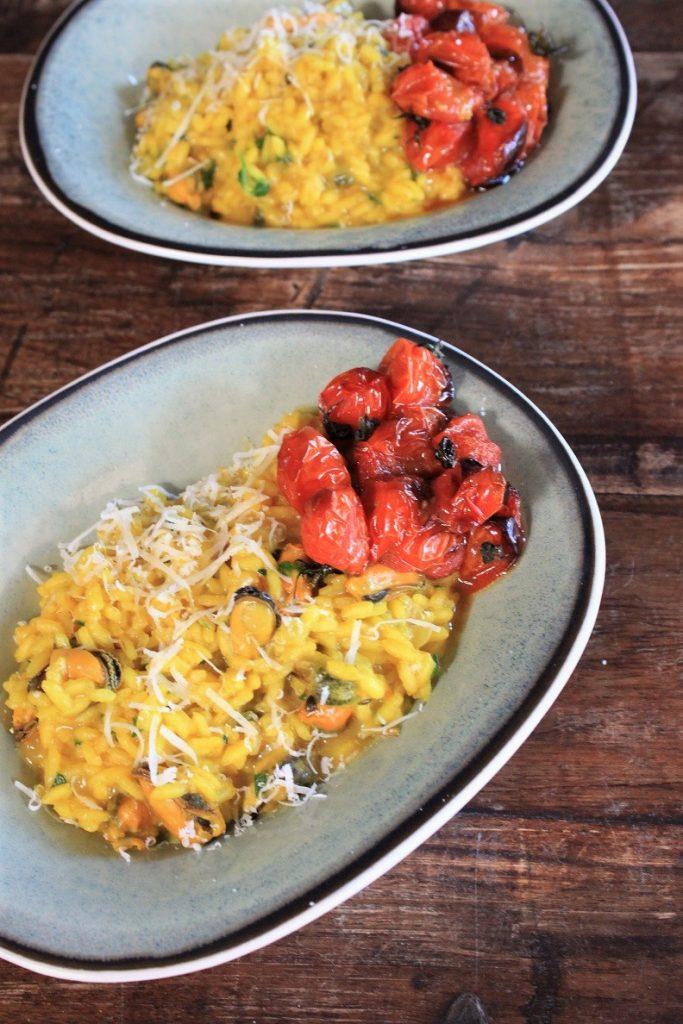 Risotto met mosselen en geroosterde tomaatjes uit kookboek Eataly foodblog Foodinista