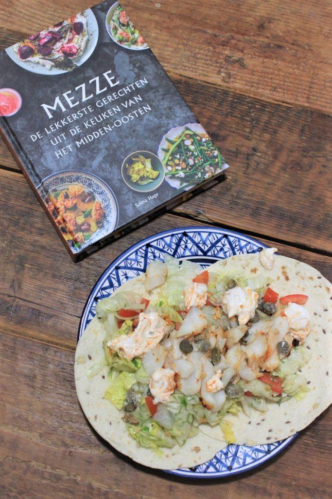 Shoarma van kabeljauw uit Kookboek Mezze recept Foodblog Foodinista