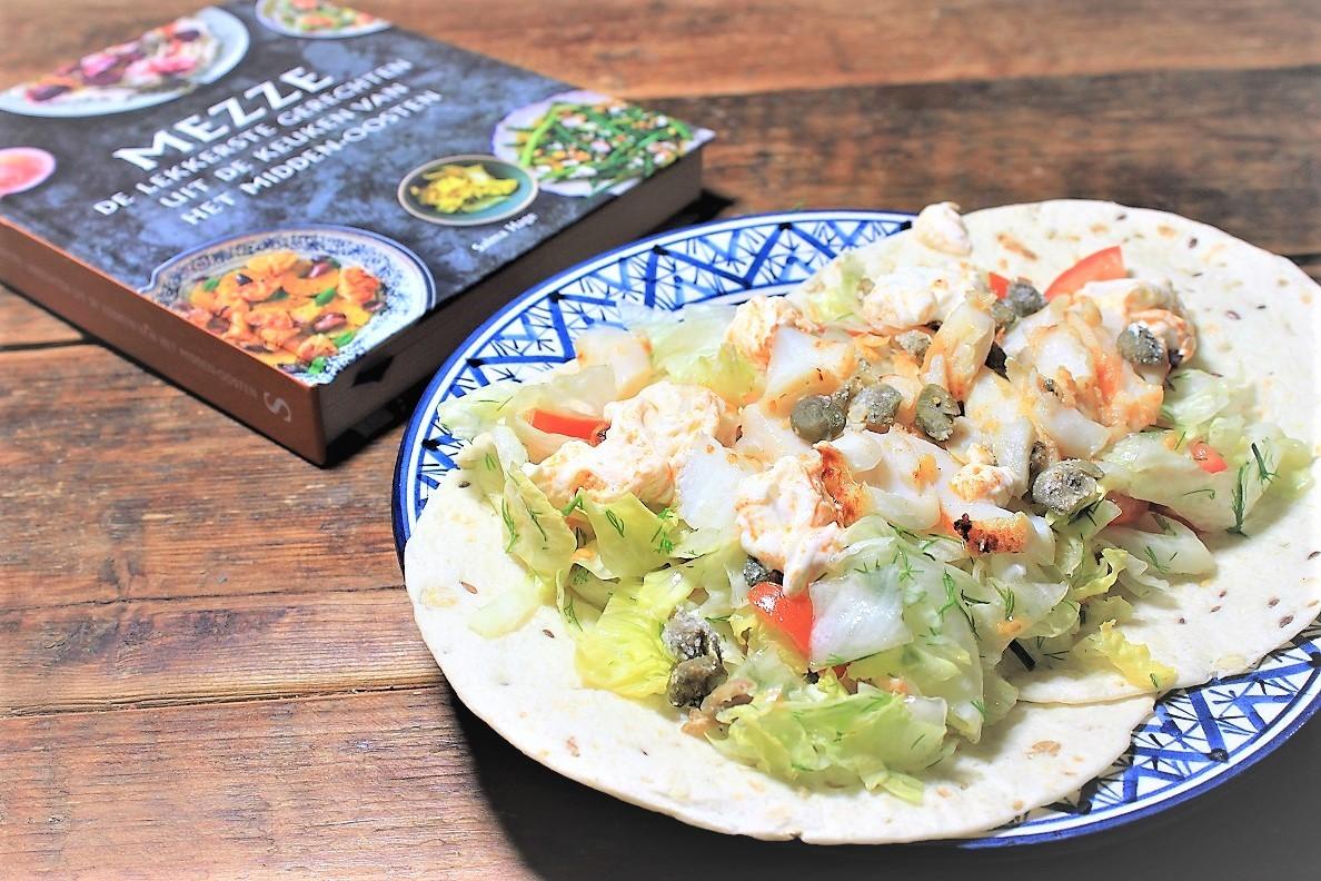 Shoarma van vis recept uit kookboek Mezze foodblog Foodinista