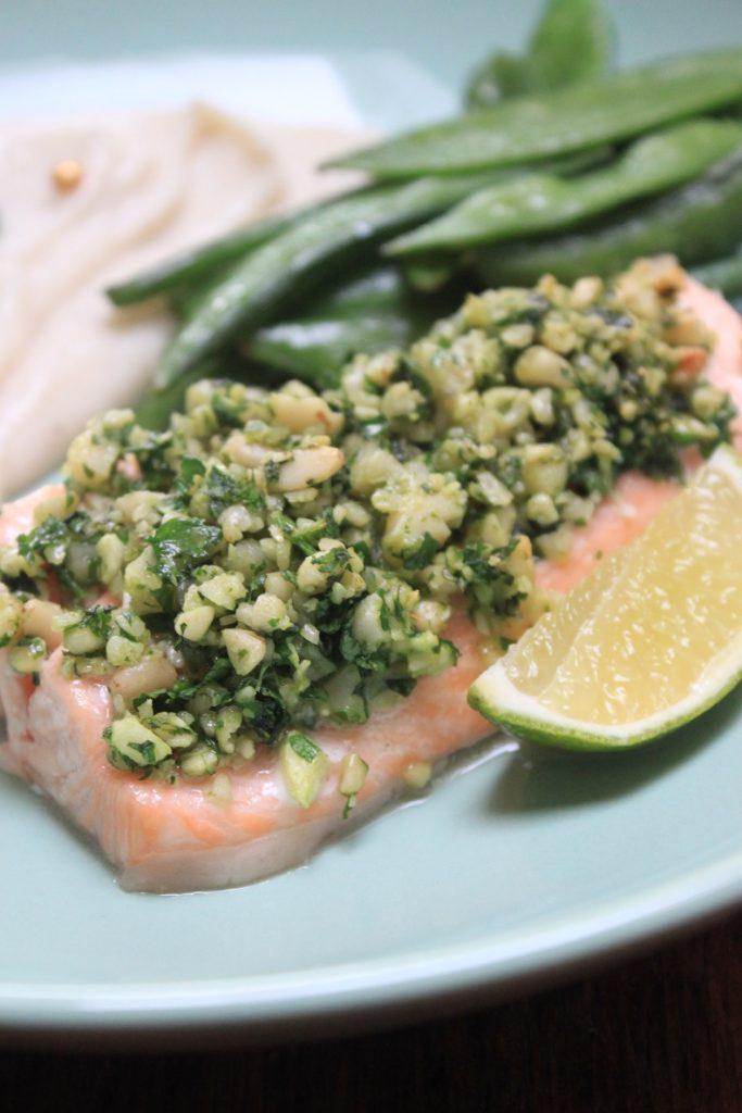 Zalm met Italiaanse Kruidenkorst en bloemkoolpuree recept van Foodblog Foodinista