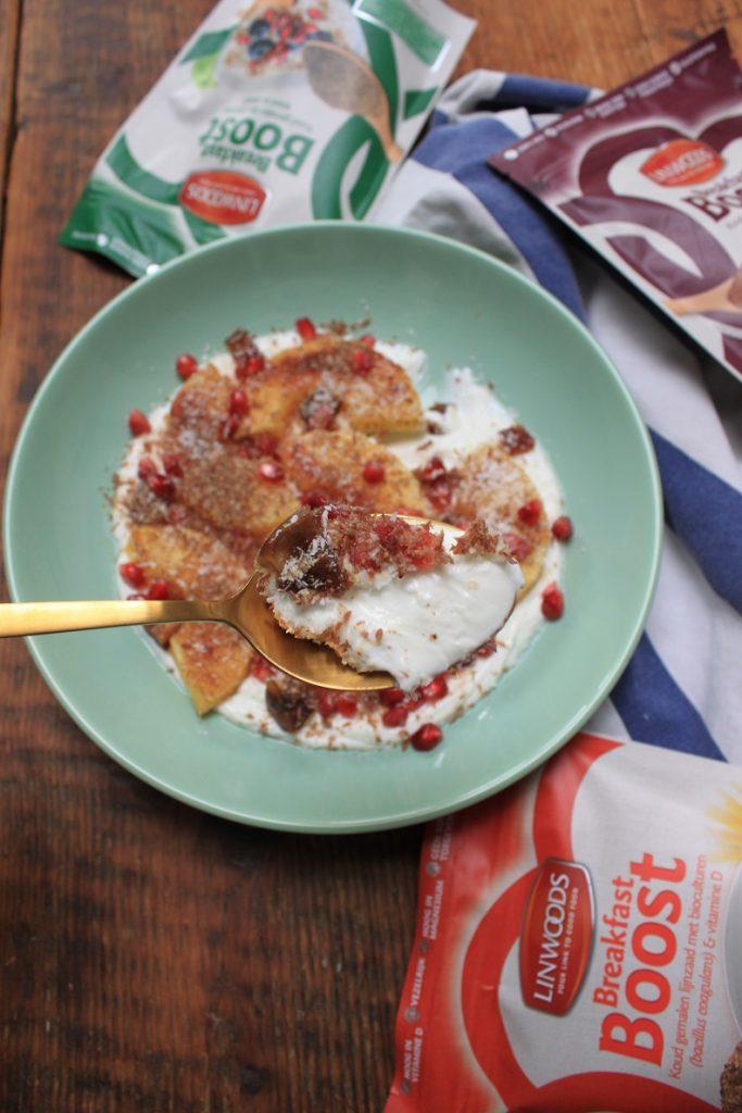 Yoghurt Bowl warme kaneel ananas recept Lindwoods Breakfast Boost van Foodblog Foodinista