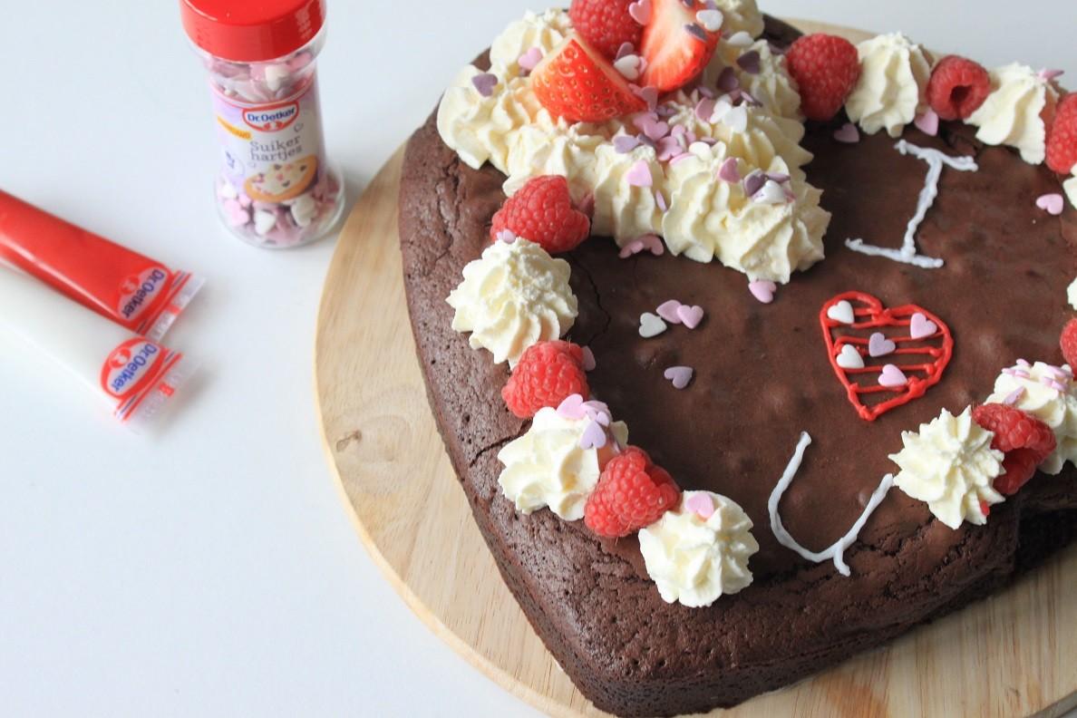 Valentijns Brownietaart recept Foodblog Foodinista
