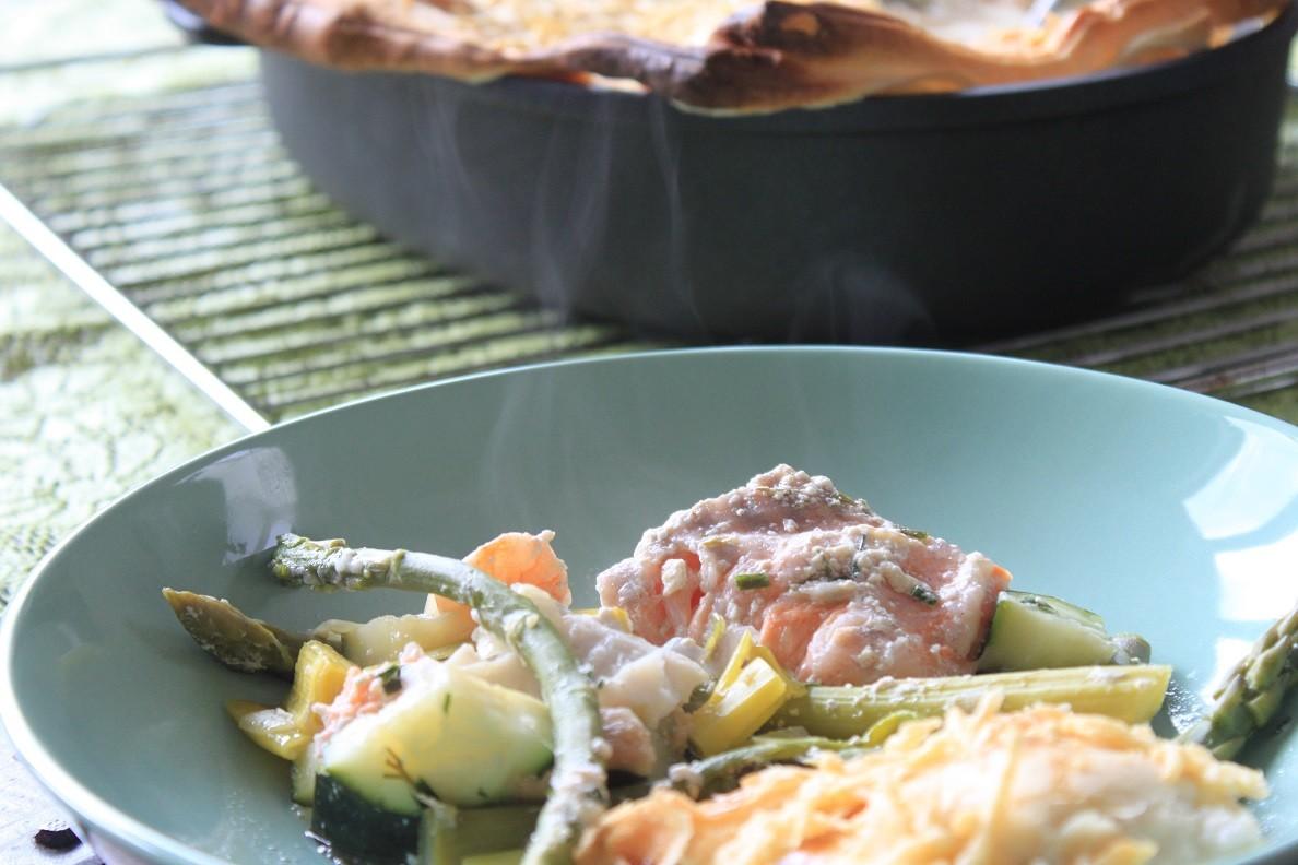 Recept Vispannetje met drie soorten vis en groene asperges van Foodblog Foodinista