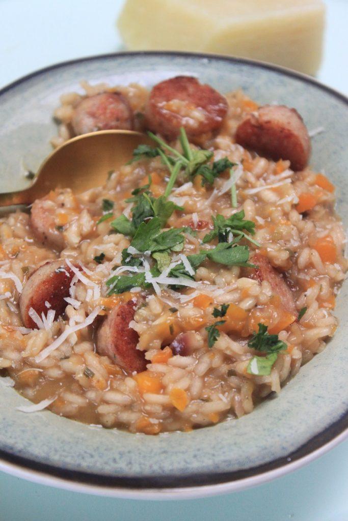 Risotto met donker bier en worstvlees recept van Foodblog Foodinista