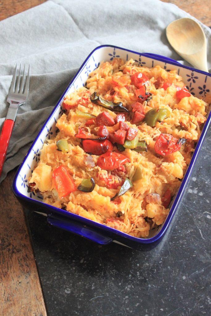 Zuurkoolstamppot recept met chorizo, paprika en tomaatjes van Foodblog Foodinista