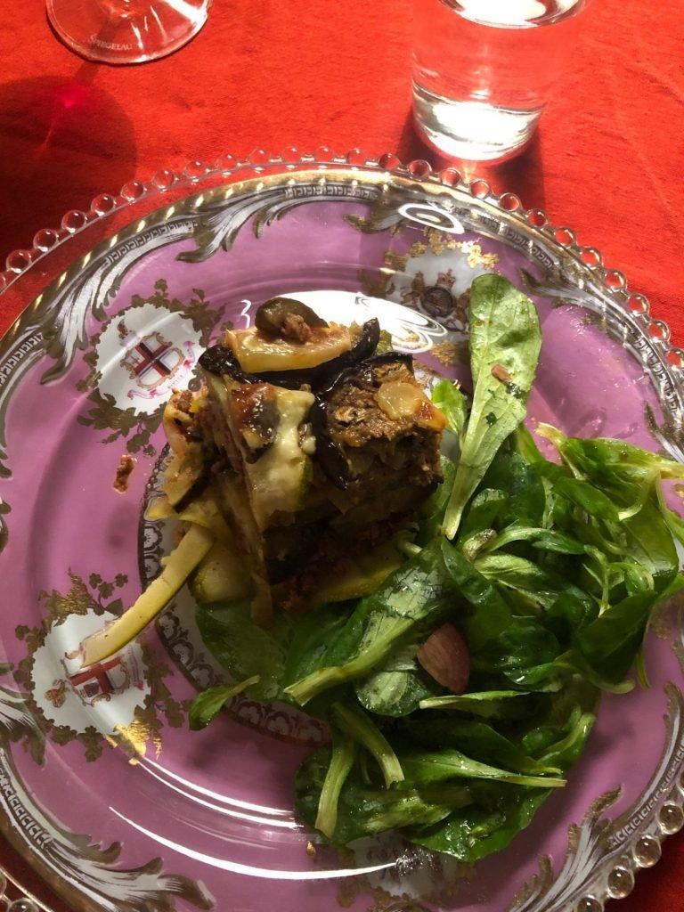 Overnachten in de Loire bij Laiterie du Gontey Tables du Hotes hoofdgerecht koolhydraatarme lasagne