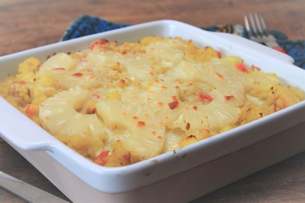 Ovenschotel recept Zuurkoolstamppot Hawaii met ananas, kokos en paprika recept van Foodblog Foodinista