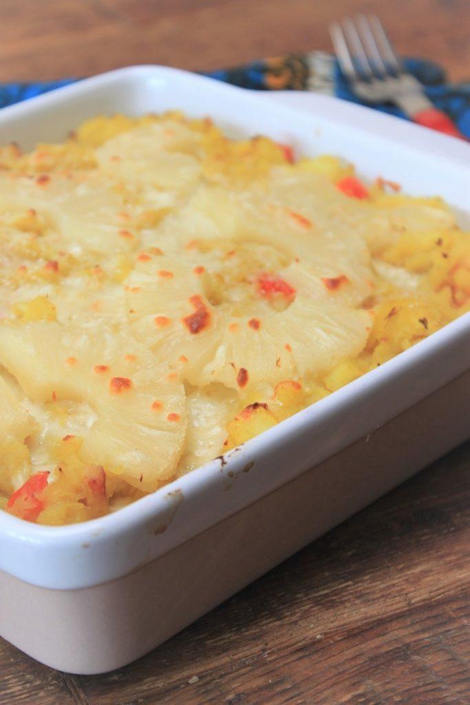 Ovenschotel zuurkoolstamppot recept met ananas, kokos en paprika van Foodblog Foodinista
