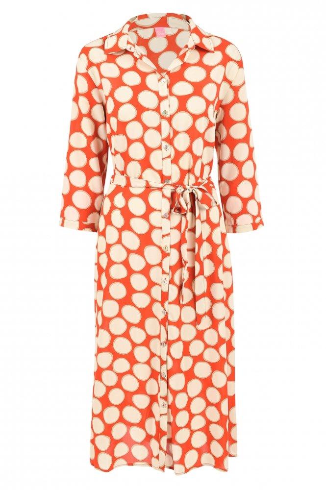 Oranje jurk met witte stippen van Kyra & Co