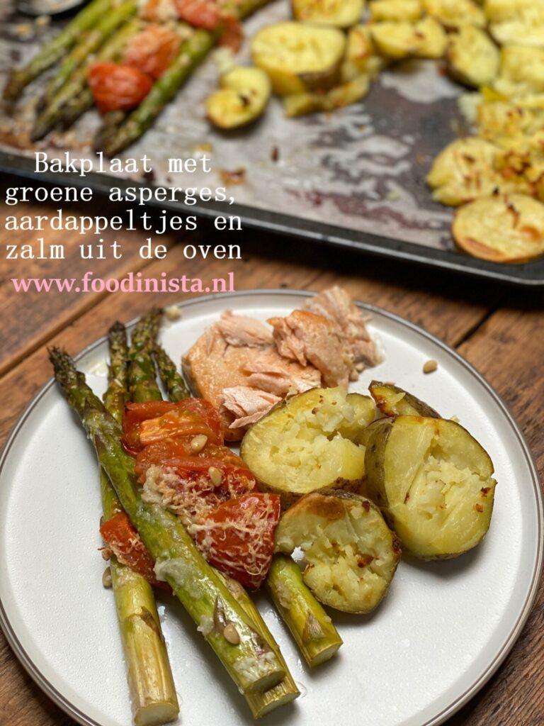 Bakplaat recept - Zalm, knoflookaardappeltjes en asperges bereiden op 1 bakplaat - Foodblog Foodinista