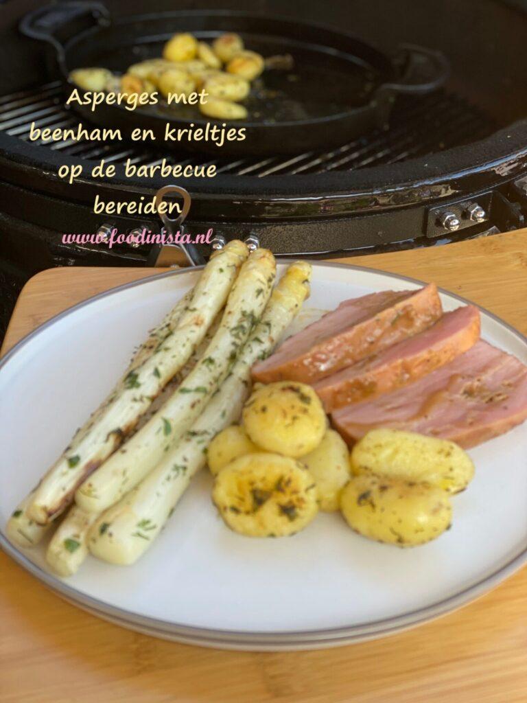 Ingrediënten voor Asperges, Honingmosterd beenham en krieltjes van de barbecue voor 4 personen
