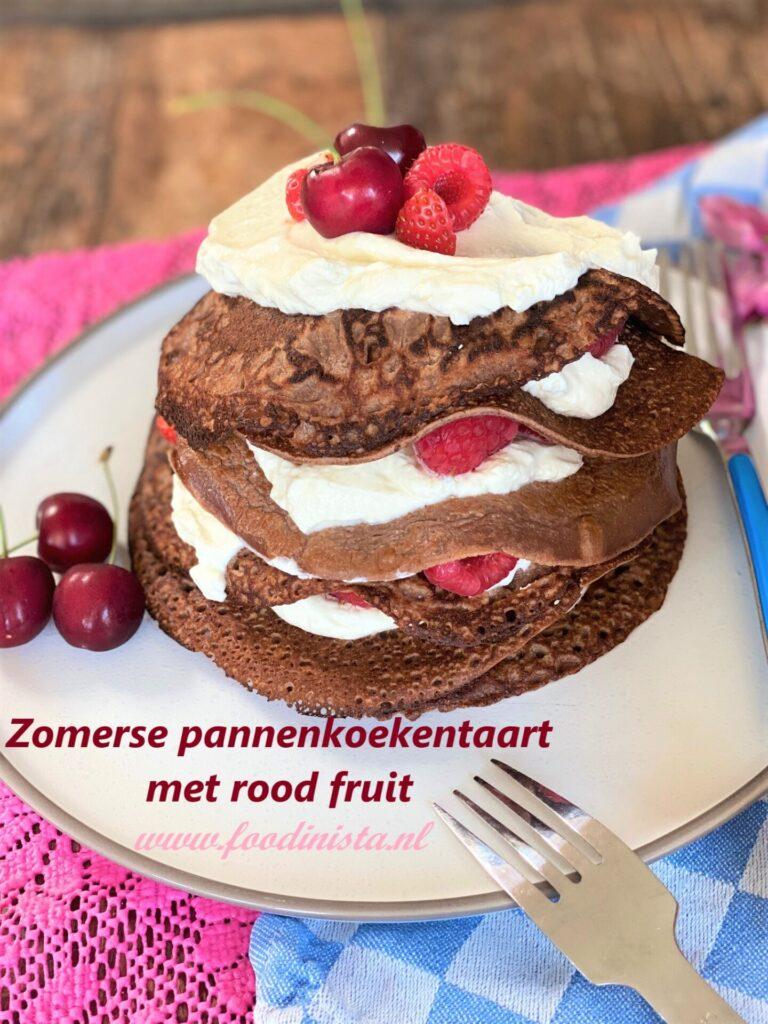 Gezondere pannenkoekentaart met vanillekwark en rood fruit