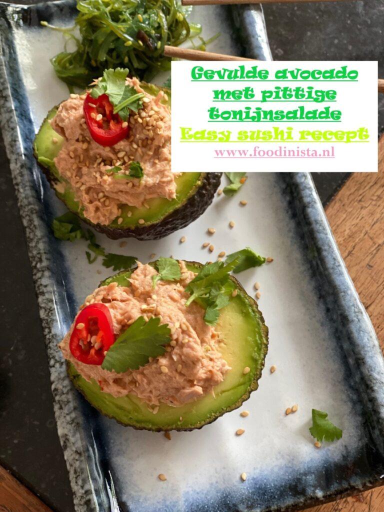 Gevulde avocado met spicy tuna salade - Pittige tonijnsalade