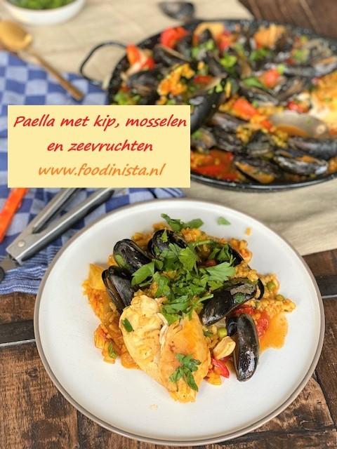 Paella met kip, mosselen en zeevruchten - Foodblog Foodinista