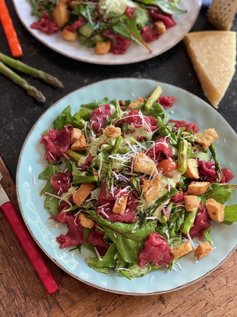 Recept voor Maaltijdsalade met carpaccio - Foodblog Foodinista