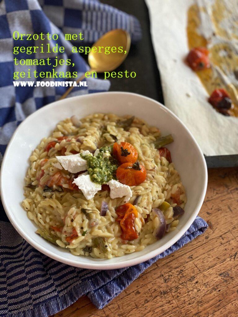 Recept orzo met geitenkaas, pesto en zoete tomaatjes - Foodblog Foodinista