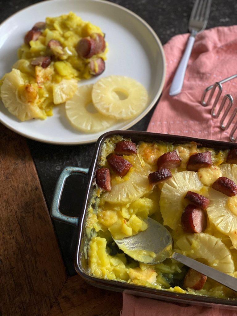 Preistamppot recept met ananas, chilikaas en rookworst - Foodblog Foodinista