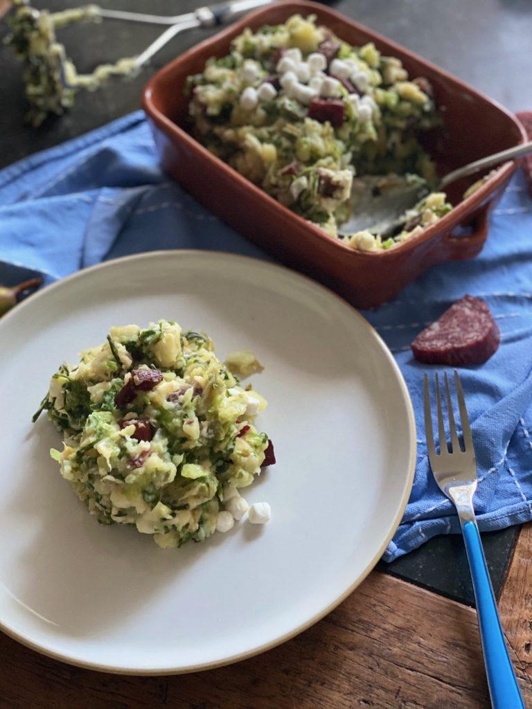 Andijvie stamppot met peer, geitenkaas en Iberico worst - Recept van Foodblog Foodinista