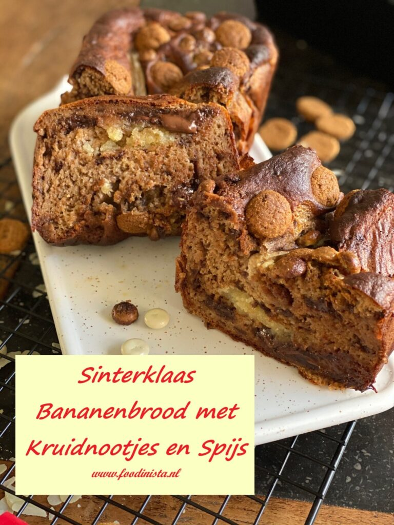 Sinterklaas Bananenbrood recept met amandelspijs en kruidnootjes
