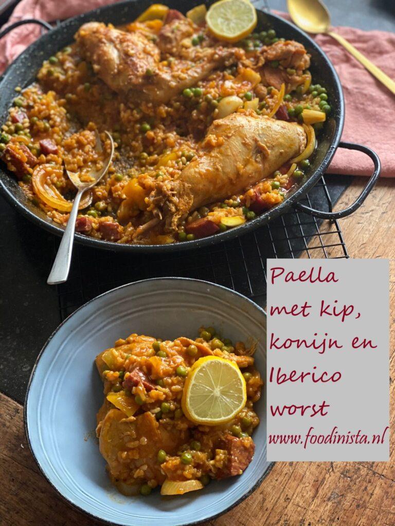Paella met konijn, kip en Iberico worst