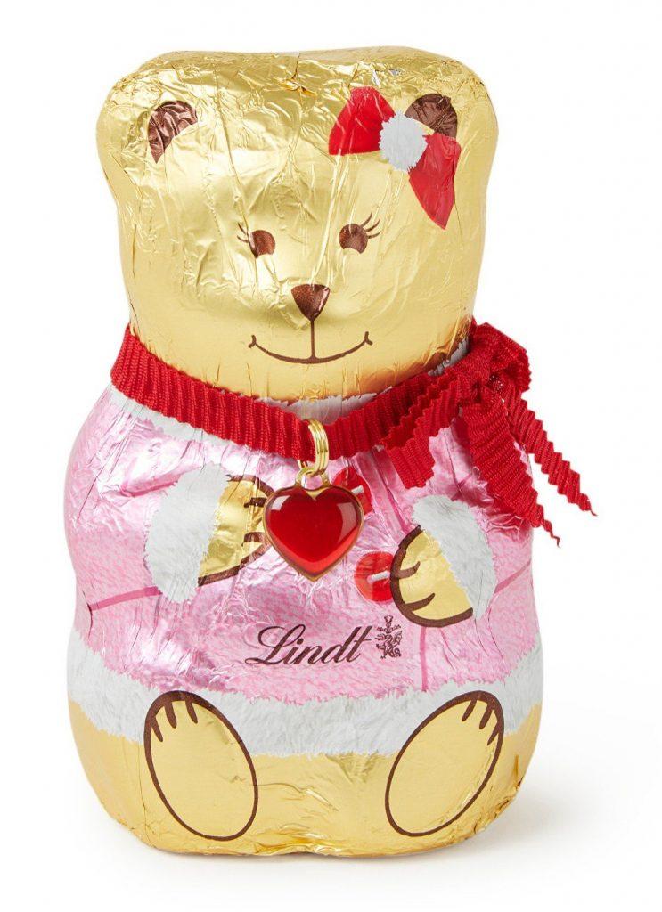 Chocolade cadeautjes voor de feestdagen - Roze Lindt Chocolade beertje - Cadeau tips van Foodinista