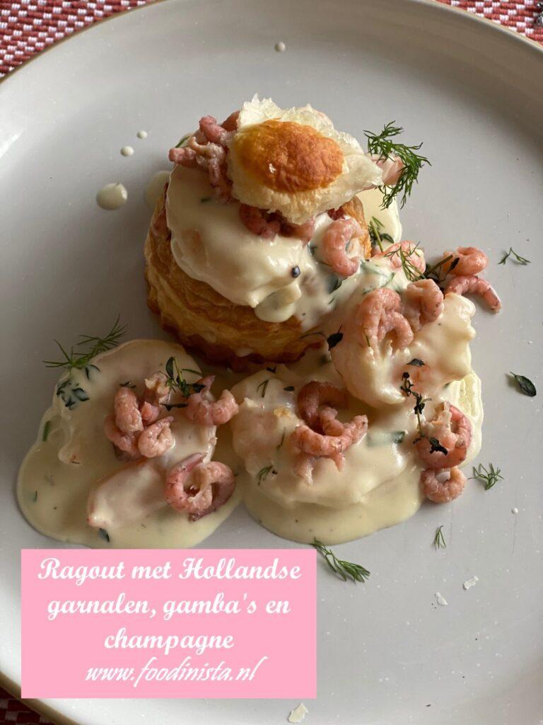 Ragout met gamba's en Hollandse garnalen in romige champagnesaus - Foodblog Foodinista
